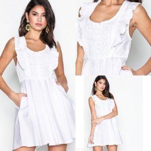 FREE PEOPLE White 100% Cotton Half Moon Mini Dress